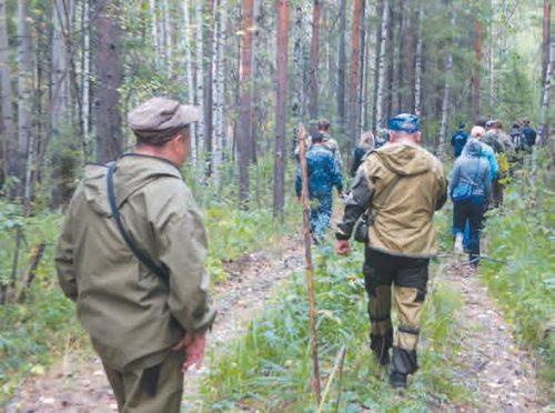 Поисковая группа прочёсывает лес